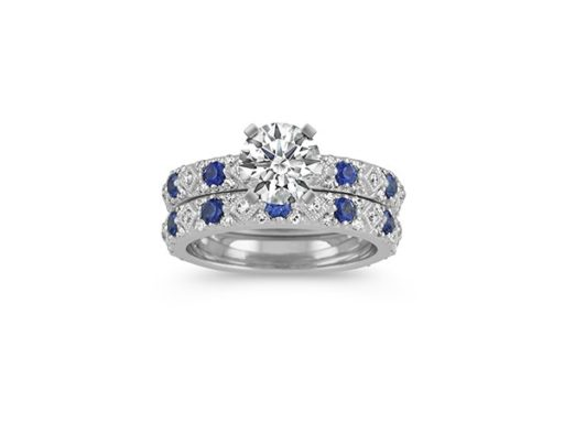 Traditional Blue Sapphire and Diamond Wedding Set in 14k White Gold.