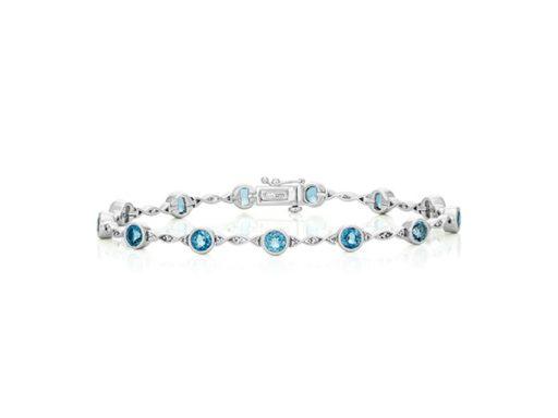 Blue topaz and white sapphire bracelet