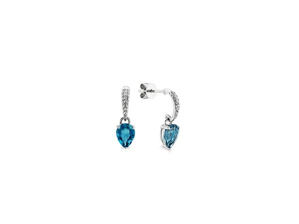 Blue topaz and white sapphire dangle earrings