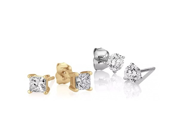 Classic diamond stud earrings.
