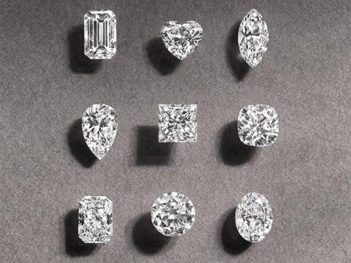 Loose diamonds representing each diamond shape.