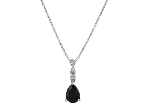 Infinity Black and White Sapphire Pendant
