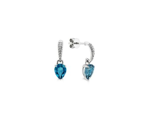 London Blue Topaz and White Sapphire Dangle Earrings