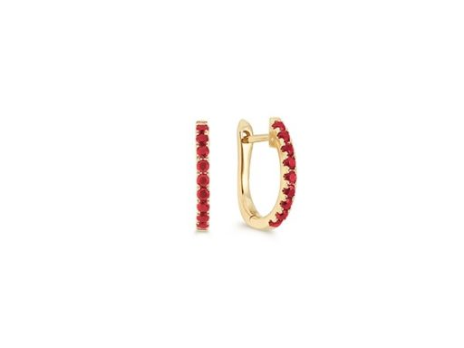 Round Ruby Hoop Earrings