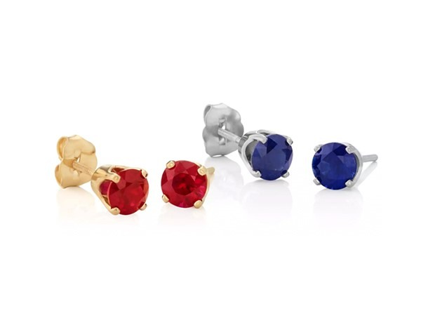Colorful ruby and sapphire stud earrings.