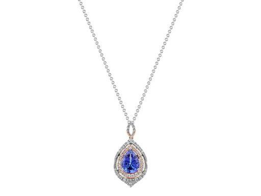 Tanzanite and diamond pendant necklace