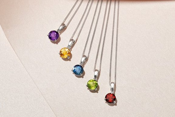 The Ornament Pendant: a gemstone pendant in five different colors, $100.