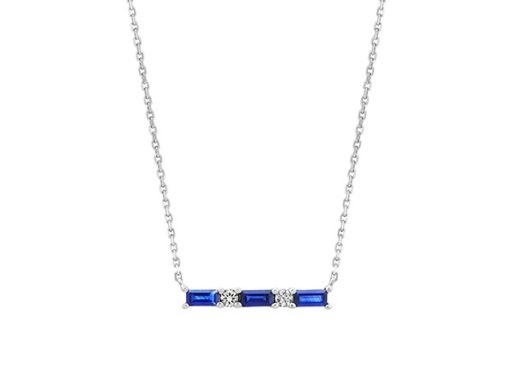 Traditional Blue and White Sapphire Bar Necklace