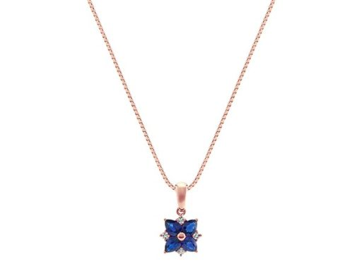 Traditional Blue Sapphire and Diamond Pendant