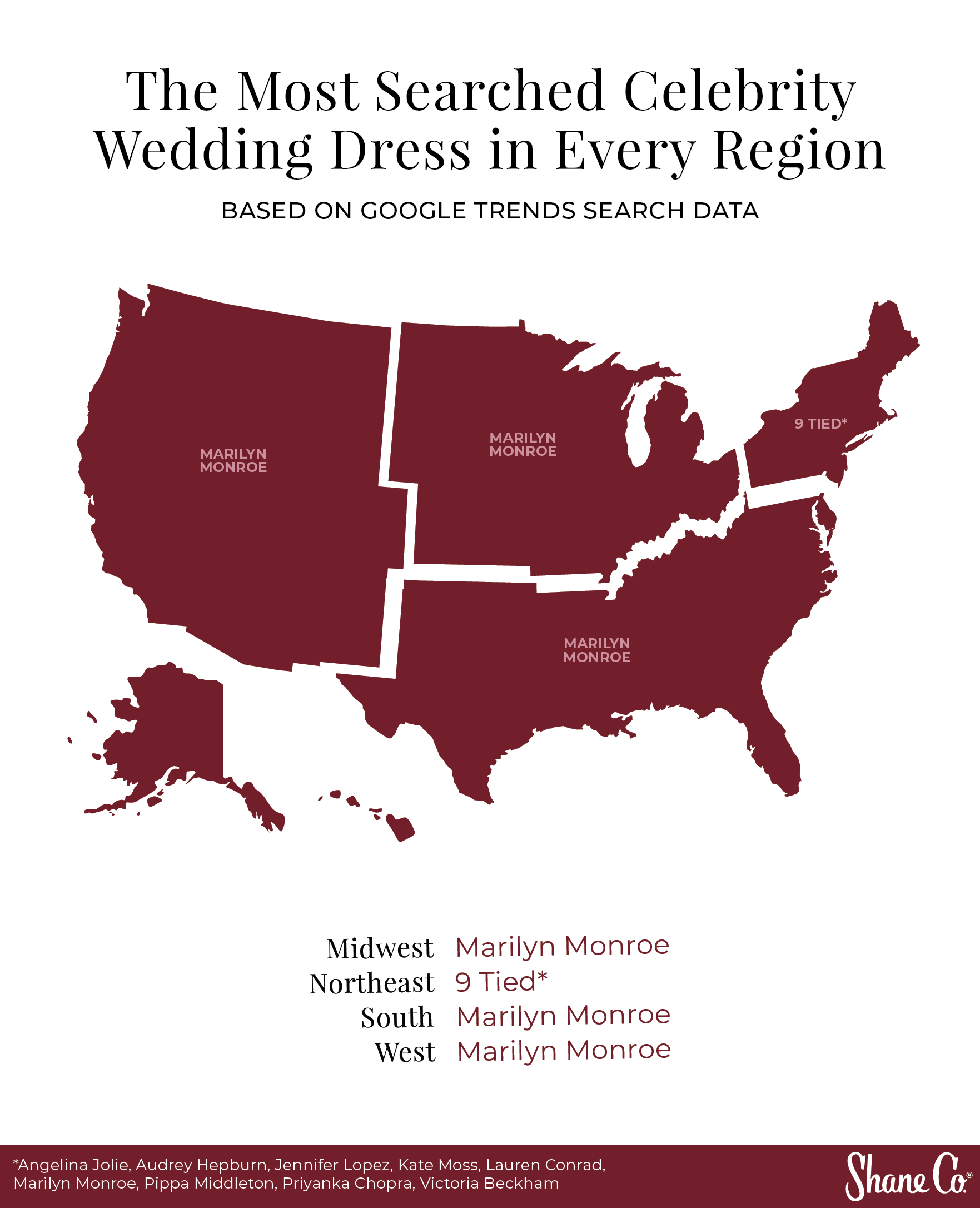 US map showing the most searched celebrity wedding dress per region
