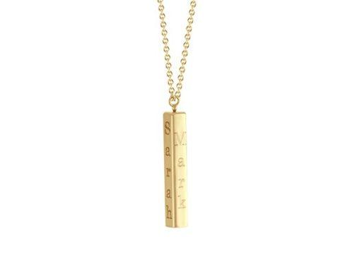 3-d bar pendant in 14k yellow gold
