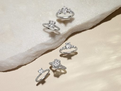 Five diamond engagement ring settings.