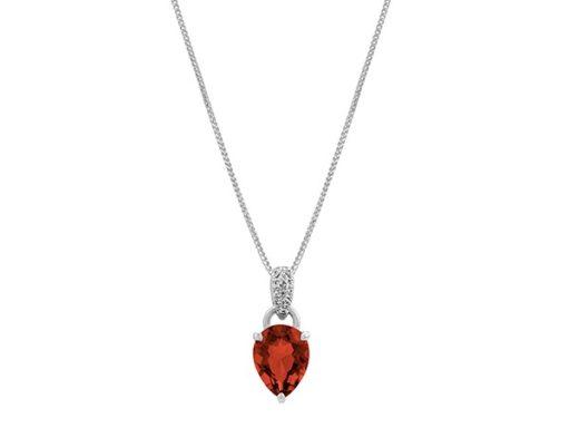 Garnet and white sapphire dangle pendant