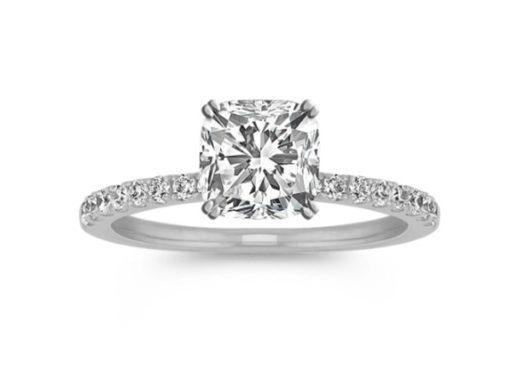 Pave-Set Diamond Engagement Ring in 14k White Gold.