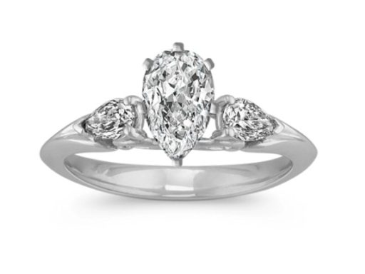 Pear-Shaped Diamond Three-Stone Engagement Ring.