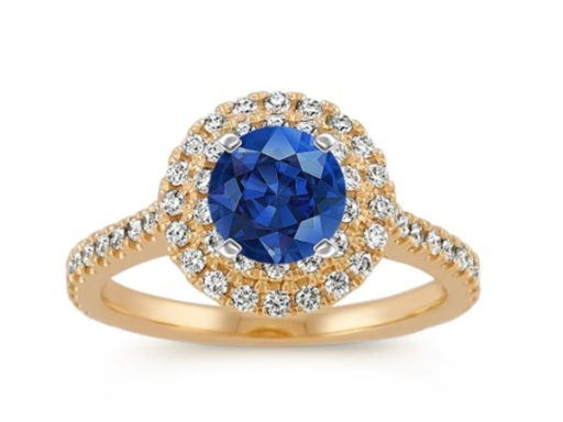 Round Double Halo Engagement Ring.