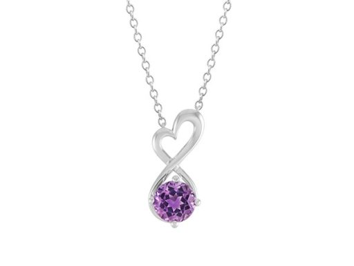 Infinity heart necklace with amethyst gemstone