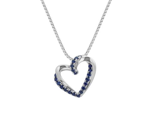 Traditional blue sapphire heart pendant