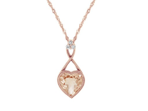 Heart-shaped morganite and diamond pendant