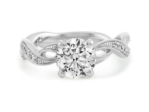 Vintage swirl diamond engagement ring