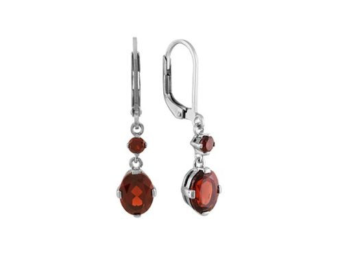 Round and Oval Garnet Dangle Earrings