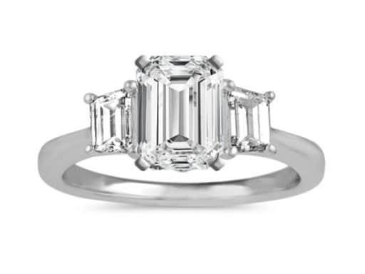 Three-Stone Emerald Cut Engagement Ring