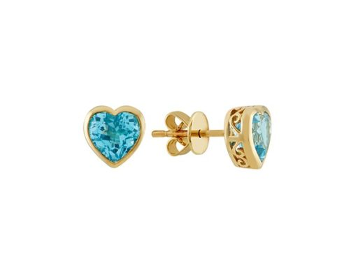 Heart-Shaped Swiss Blue Topaz Earrings