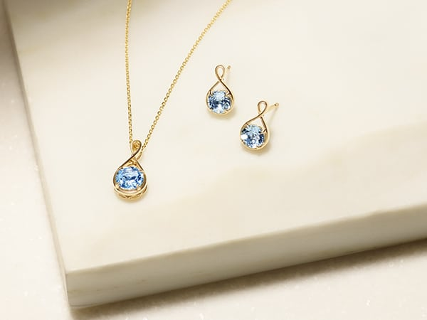 Matching aquamarine earrings and necklace.