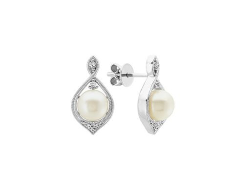 Freshwater Pearl and White Sapphire Earrings