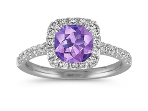 Purple Sapphire Halo Engagement Ring