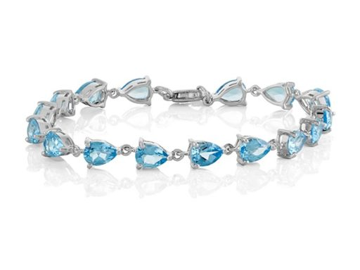 Pear-Shaped Sky Blue Topaz Bracelet