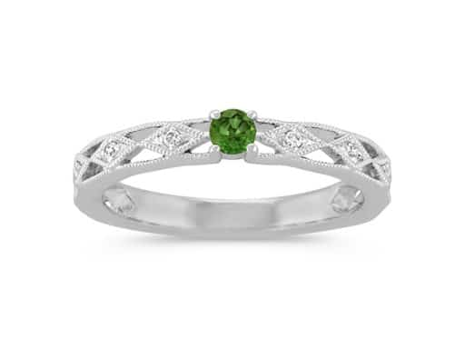 Round Green Sapphire and Round Diamond Stackable Ring