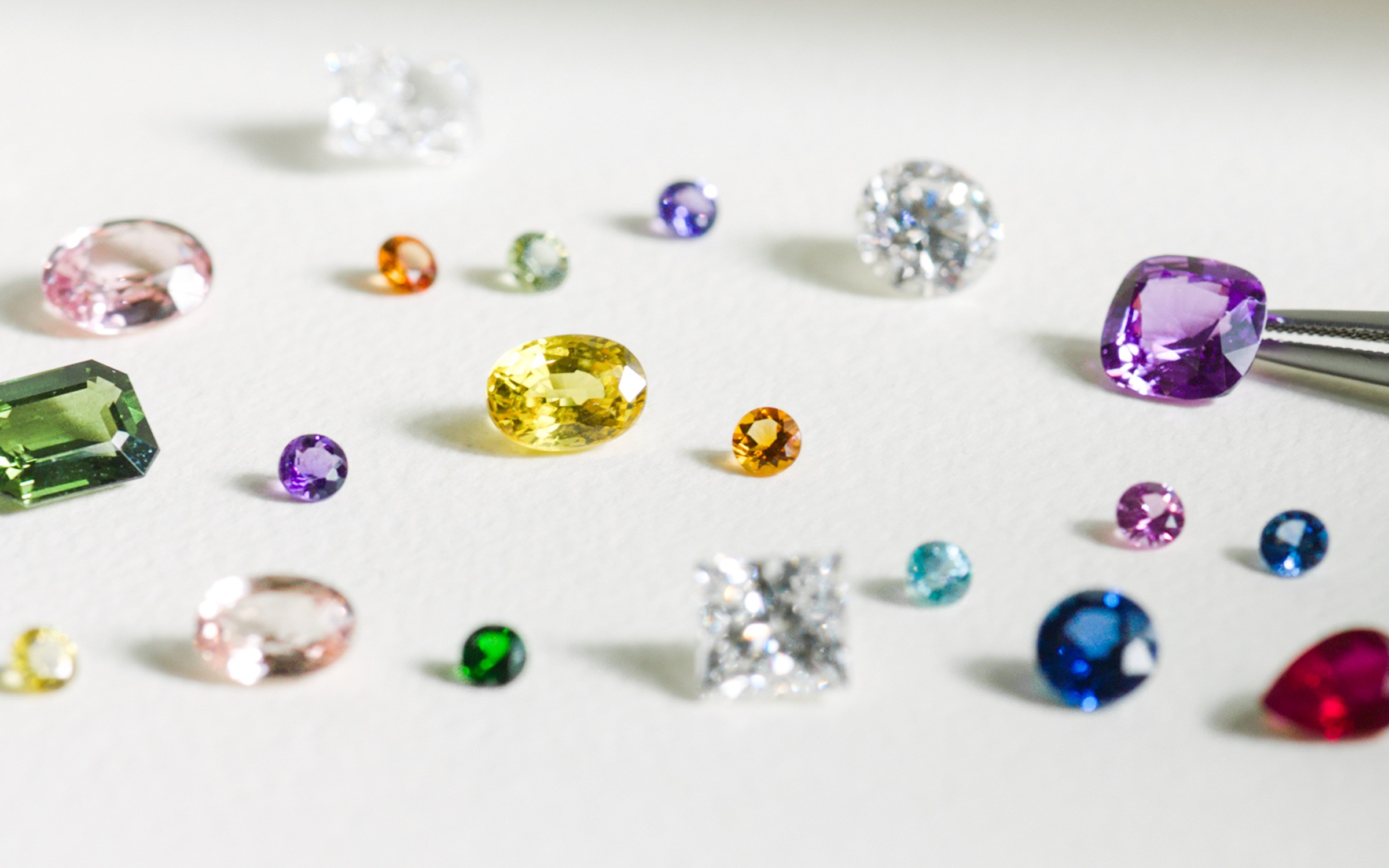 Loose diamonds and gemstones.