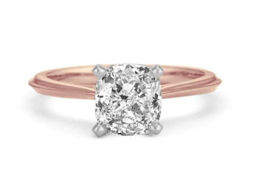 Vintage Cathedral Knife Edge Solitaire Engagement Ring.