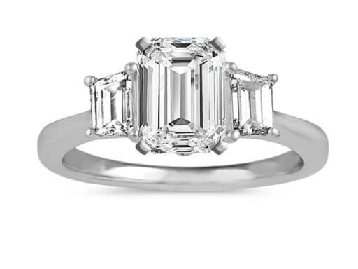Classic Three-Stone Engagement Ring.