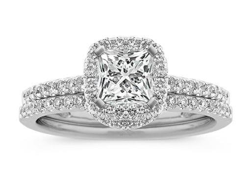 Halo Diamond Wedding Set With Pave-Set Round Diamonds.