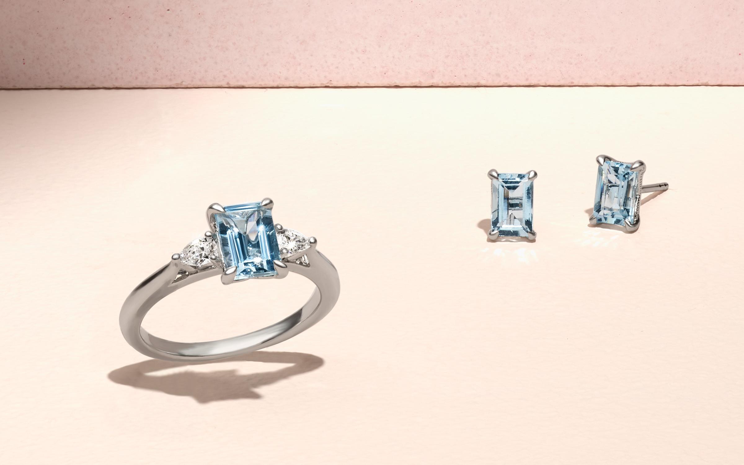 Aquamarine and Diamond Ring and Emerald-Cut Aquamarine Studs.