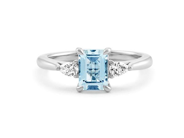 Aquamarine and Diamond Three-Stone Ring.