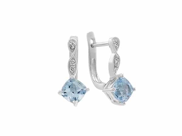 Vintage Aquamarine and Diamond Earrings.