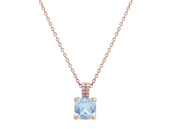 Aquamarine Pendant with Diamond Accents.