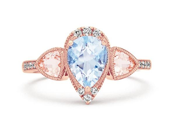 Pear-Shaped Aquamarine, Trillion-Cut Morganite, and Round Diamond Ring.