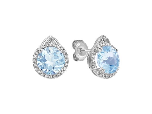 Round Aquamarine and Diamond Halo Earrings.