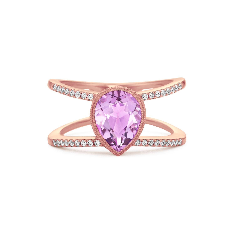 Vintage Halo Light Purple Amethyst and Diamond Ring.