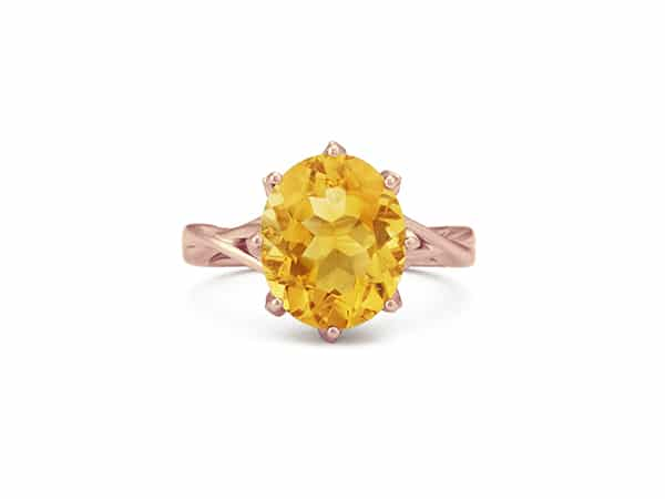 Citrine and Diamond Ring in 14k Rose Gold.