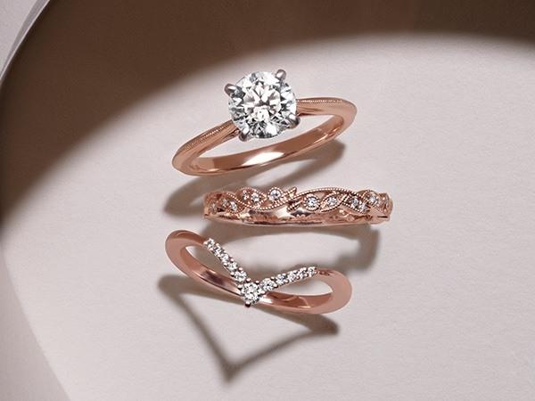 Rose gold ring stack.