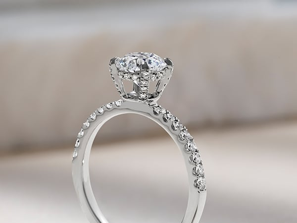 Engagement ring with a hidden halo.