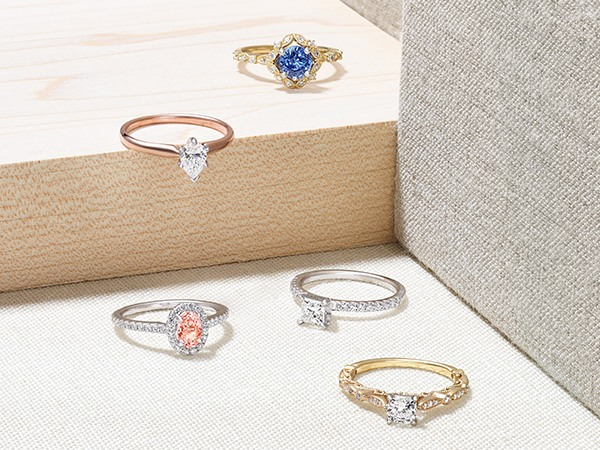 Selection of engagement rings.