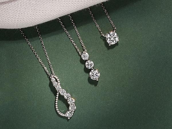 Three diamond necklaces.