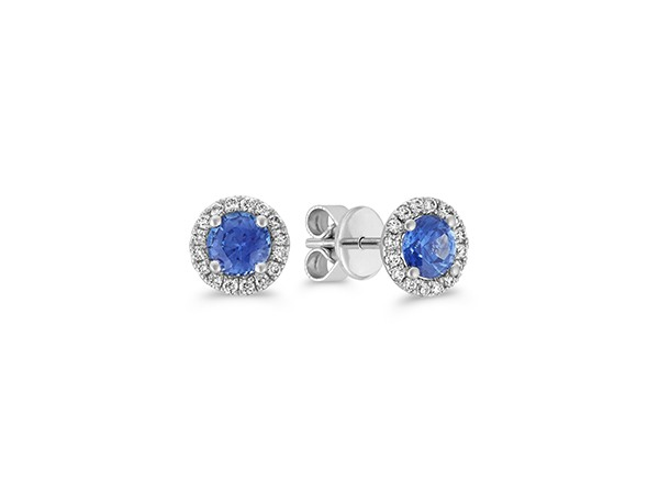 Halo Kentucky Blue Sapphire and Diamond Earrings.