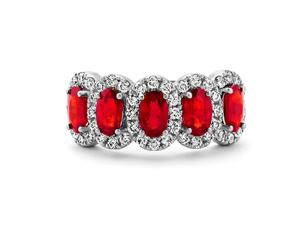 Five-Stone Ruby and Diamond Ring.